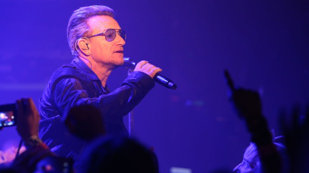 U2 performs at the Roxy Theatre on May 28, 2015. (Photo by Cody Black / KROQ.com)